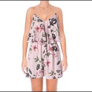 Cute New Floral Pink Pleated Ruffle Medium romper